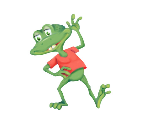 anuran: Illustration of cheerful little frog isolated on white background