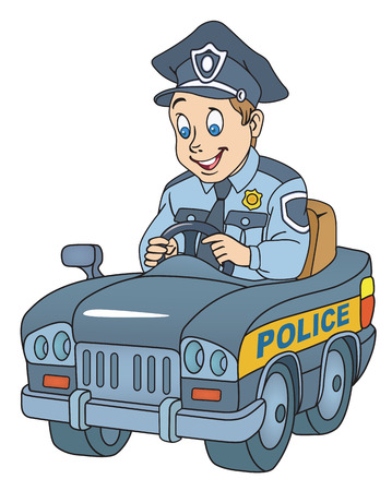 Illustratie van politieagent in de auto op een witte achtergrond