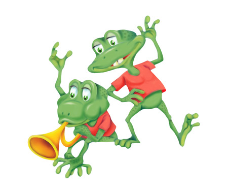 anuran: Illustration of two cheerful frogs isolated on white background