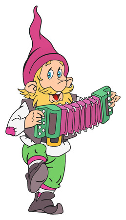 Funny gnome musician with accordion in his hands