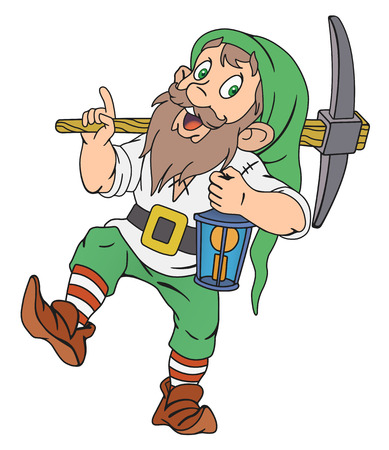 green lantern: Illustration of funny gnome with pickaxe and lantern