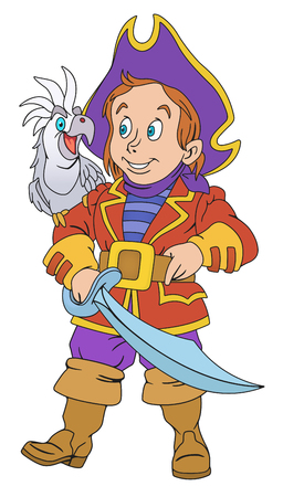 swashbuckler: Illustration of cute pirate boy with cutlass Illustration