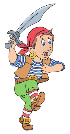 Illustration of cute pirate boy with cutlass Illustration