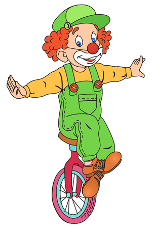Illustration of Cute Circus Clown on Unicycling