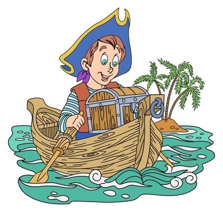 swashbuckler: Illustration of pirate boy with a treasure on the boat