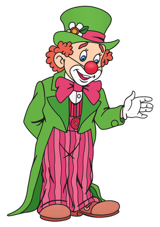 comedian: Illustration of Funny Circus Clown in Colorful Outfit Illustration
