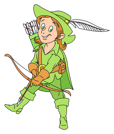 archer cartoon: Illustration of Funny Archer with Bow and Quiver