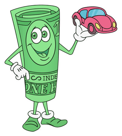 offering: Rolled Dollar Bill Banknote Cartoon Character Offering a Car Illustration
