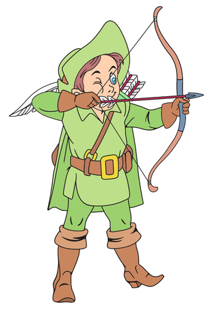 Illustration of Funny Archer with Bow and Quiver