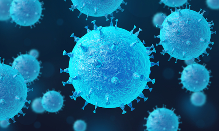 Group of viruses in infected organism. Virus cells selective focus. Bacteria cells high resolution science background. Blue virus on a dark background. 3d illustration