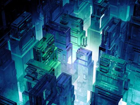 Ciudad futurista micro fichas. ciencias de la computación de fondo tecnología de la información. megalópolis de ciencia ficción. 3d ilustración