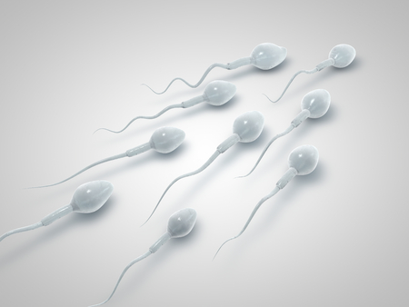 semen: Frozen spermatozoon. 3D illustration of the sperm swimming to the ovule on white background. Minimalistic. Sperm Bank. 3d illustration