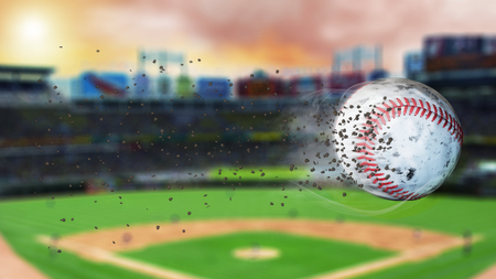 infield: 3d illustration of flying baseball leaving a trail of dust and smoke. Spinning dirty baseball, selerctive focus.