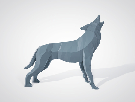 grey wolf: 3D illustration of origami wolf howling. Polygonal wolf side view. Geometric style grey wolf. Stock Photo