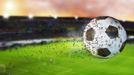 Flying football leaving a trail of smoke. Spinning dirty soccer ball, selerctive focus. 3D illustration