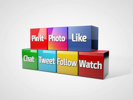 tweet: Social media and networking concept: group of colored cubes with with social media words: like, tweet, chat, follow, pin it, watch, photo. 3D illustration
