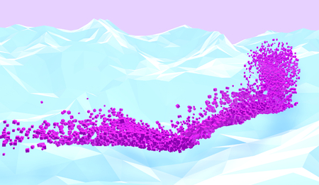 Pixel river. Abstract background with polygonal mountains and pink cubes flow. 3D illustration