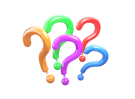 Pink balloon in a shape of a question. 3D illustration