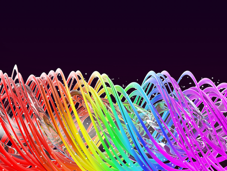 Abstract Multi colored rainbow spring background. Rainbow twisted waves. Colored spiral on a dark background. 3D illustration