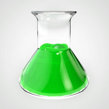 Poison flask, vial, tube. Bottle filled with green liquid. 3D illustration