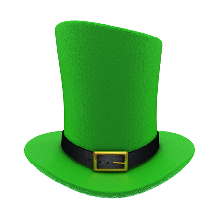 gold buckle: Green St. Patricks Day top Hat with gold buckle. Isolated on white background. 3D illustration