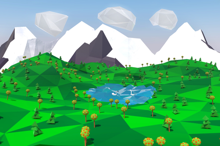 Low poly landscape with mountains, lake, trees and swans. Travel 3D illustration.