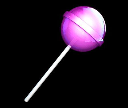 spun sugar: Candy on stick isolated on black background. 3D illustration Stock Photo