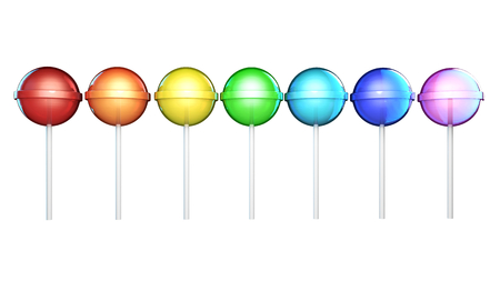 Line of brightly colored lollipops. Candies on stick in a row isolated on white background. Seven colors of the rainbow. The colors of the spectrum. Stock Photo