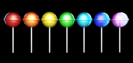 licorice sticks: Line of brightly colored lollipops. Candies on stick in a row isolated on white background. Seven colors of the rainbow. The colors of the spectrum. Stock Photo