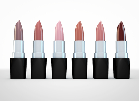 3d nude: Set of lipsticks nude colors. Beige lipstick in a row isolated on white. Lipstick natural color. 3D illustration