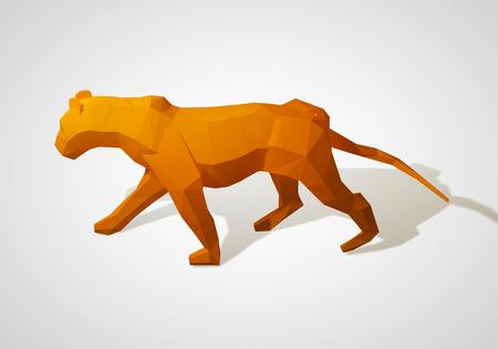 3d lion: Origami lion. Polygonal lion. Walking geometric style lion. 3D illustration