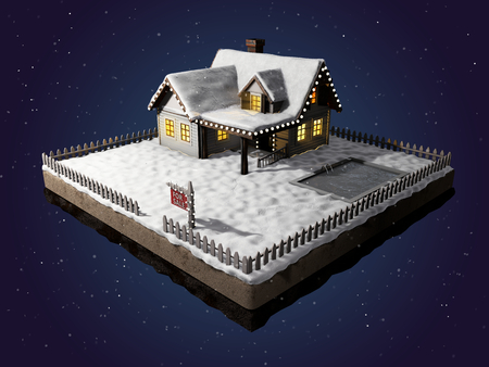 home sale: Small clapboard siding house with snow-covered roof. Beautiful home for sale with realestate sign. Little cottage on a piece of earth in cross section. Winter christmas scene at night. Christmas cabin at night with light in the windows. 3D illustration.
