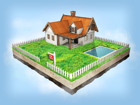 Small clapboard siding house with red roof. Beautiful home for sale with realestate sign. Little cottage on a piece of earth in cross section with green grass, pool and white fence. 3D illustration.