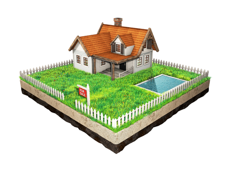 siding: Small clapboard siding house with red roof. Beautiful home for sale with realestate sign. Little cottage on a piece of earth in cross section with green grass, pool and white fence. Isolated on white. 3D illustration.