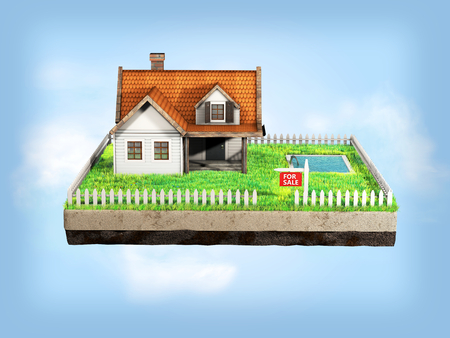 siding: Small clapboard siding house with red roof. Beautiful home for sale with realestate sign. Little cottage on a piece of earth in cross section with green grass, pool and white fence. 3D illustration.