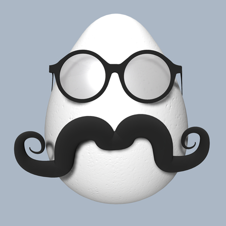 Easter Egg with black mustache and glasses. 3D illustration
