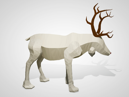 Origami low poly reindeer. Polygonal geometric style deer cartoon character, 3D illustration.