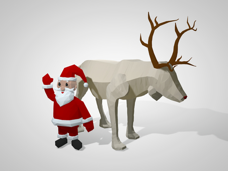 Origami reindeer and Santa Claus. Polygonal geometric style deer and santa cartoon characters, christmas illustration. 3D illustration