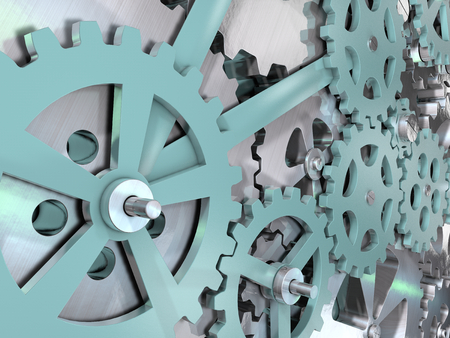 3D illustration of gears and cogwheels mechanical engineering background. Stock Photo