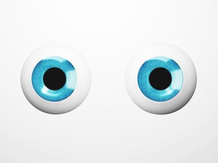 intake: Blue eyes on white background. Blue iris close up. 3D illustration Stock Photo