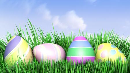 Easter eggs hiding in Fresh Green Grass. 3D illustration