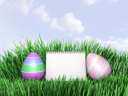 hiding: Easter eggs hiding in Fresh Green Grass. 3D illustration