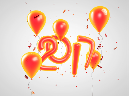 newyear: 2017 Happy new year balloons. Happy New Year background with orange number ballons with confetti and serpentine. 3D illustration