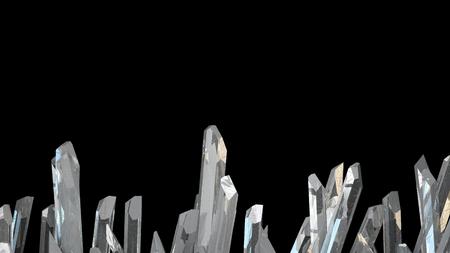 Illustration 3D de la pierre de cristal macro-minéraux. Cristaux de quartz sur fond noir.