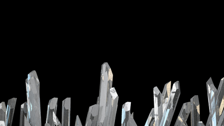 3D illustration of crystal stone macro mineral. Quartz crystals on black background.
