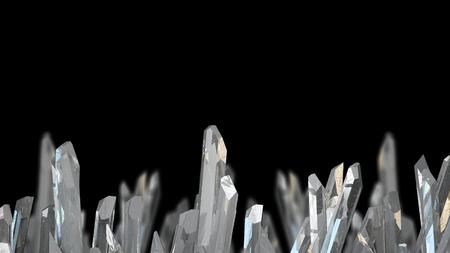 3D illustration of crystal stone macro mineral. Quartz crystals on black background.