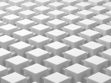network topology: White cubes connected by links. Connected cubes network concept background. 3D illustration