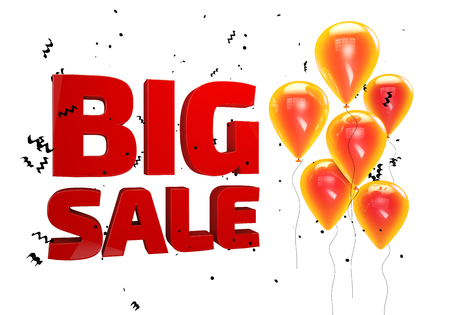 3D illustration of Big Sale poster. Sale banner with balloons and confetti Stock Photo