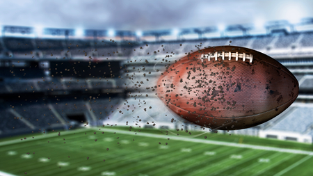 3d illustration of flying american football leaving a trail of dust and smoke. Spinning dirty american football Stock Photo