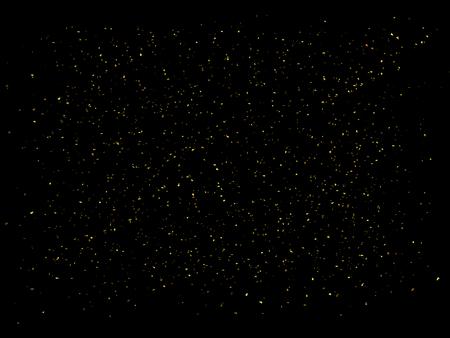 Golden glitter on black background. Gold sparkles backdrop. Golden explosion 3D illustration